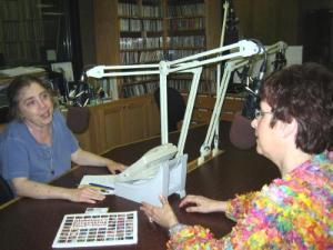 Talking on the radio with Erika Funke.