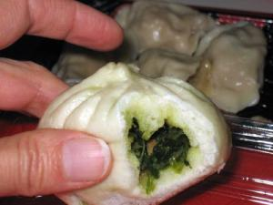 Spinach and mushroom bao