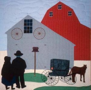 """Amish Farmyard by Ami Simms (22"""" x 22"""")"""